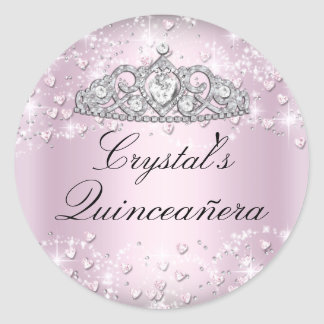 Pink Sparkle Tiara & Hearts Quinceanera Sticker