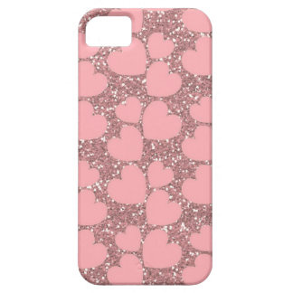 Pink Sparkle with Hearts iPhone 5 Case
