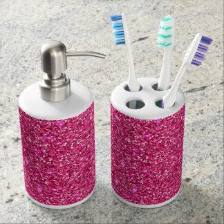 Pink Sparkled Look Soap Dispenser And Toothbrush Holder