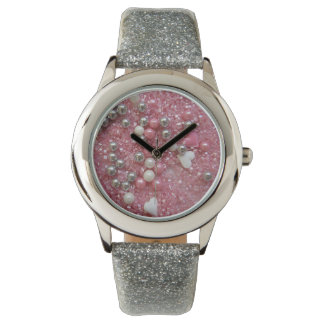 Pink Sparkles and Love Hearts Watch