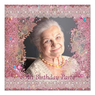 "Pink Sparkles Womans Photo 85th Birthday Party 5.25"" Square Invitation Card"