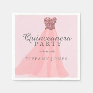 Pink Sparkling Glitter Gown Quinceanera Party Disposable Napkin