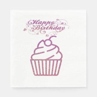 Pink Sparkly Birthday Cupcake Napkins Paper Napkin