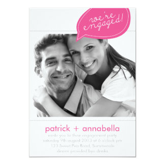 Pink Speech Bubble Engagement Party Photo Invites