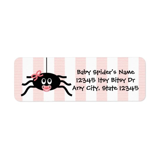 Pink Spider Baby Shower Return Address Label