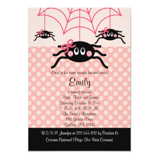 Pink Spider Halloween Birthday Invitations