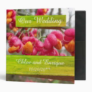 Pink Spindle Flowers Binder for Wedding Photos