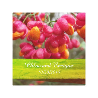 Pink Spindle Fruit/ Flowers Personalized Wedding Canvas Print