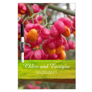 Pink Spindle Fruit/ Flowers Personalized Wedding Dry Erase Board