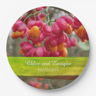 Pink Spindle Fruit/ Flowers Personalized Wedding Paper Plate