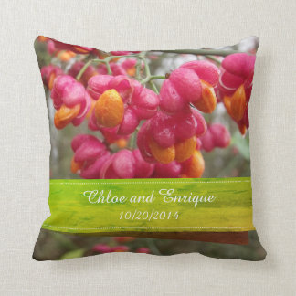 Pink Spindle Fruit/ Flowers Personalized Wedding Throw Pillow