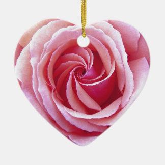 Pink Spiral Rose Ceramic Ornament