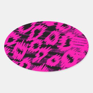 Pink Spots Pattern Oval Sticker