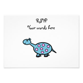 Pink spotted baby dinosaur personalized invite