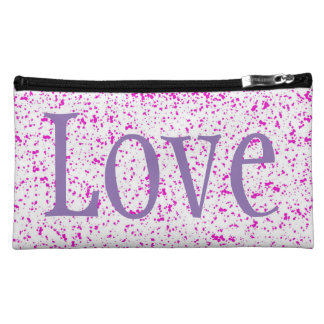 Pink Spotted Sueded Medium Cosmetic Bag