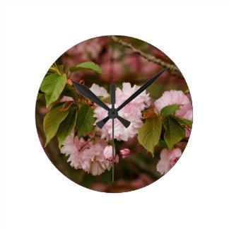 Pink Spring Blooming Japanese Kwanzan Cherry Wall Clock