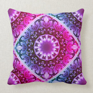 Pink spring blossoms 1.2.3.F, mandala style Throw Pillow