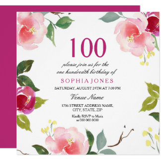 Pink Spring Floral 100th Birthday Party Invitation