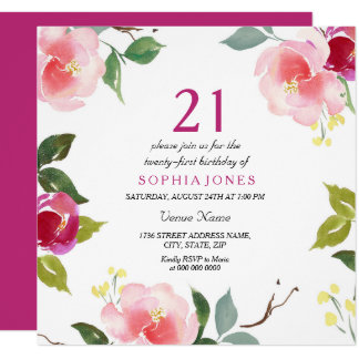 Pink Spring Floral 21st Birthday Party Invitation