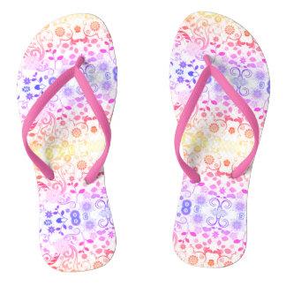 Pink Spring Floral Flip Flops