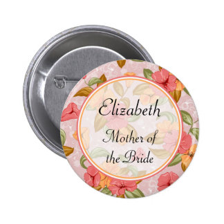 Pink Spring Floral Mother of the Bride 2 Inch Round Button