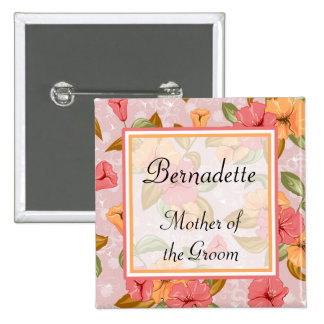 Pink Spring Floral Mother of the Groom 2 Inch Square Button