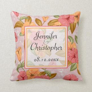 Pink Spring Floral Wedding Memento Throw Pillow