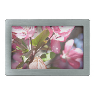 Pink Spring Flower Blossoms Rectangular Belt Buckle
