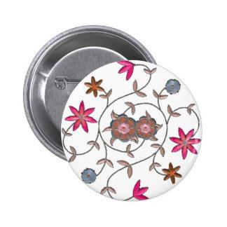 Pink Spring Flower Garden 2 Inch Round Button