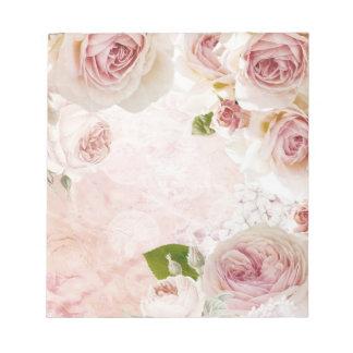 Pink Spring Flower Rose Pastel Collage Notepad