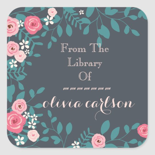 Pink Spring Flowers Bookplate Square Sticker