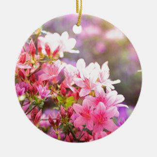 Pink spring flowers ceramic ornament