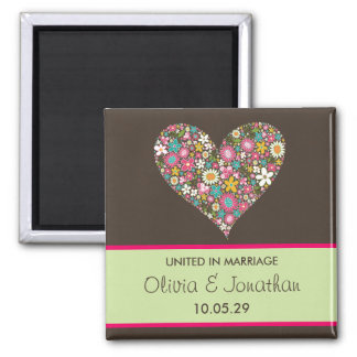 Pink Spring Flowers Heart Save The Date Magnet
