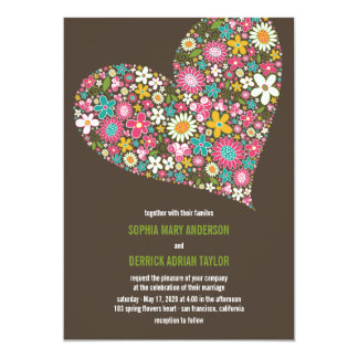 Pink Spring Flowers Heart Whimsical Wedding Invite