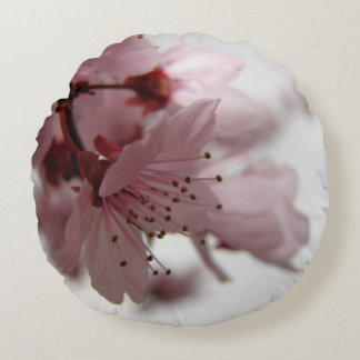 Pink Spring Flowers Round Photo Art Pillow