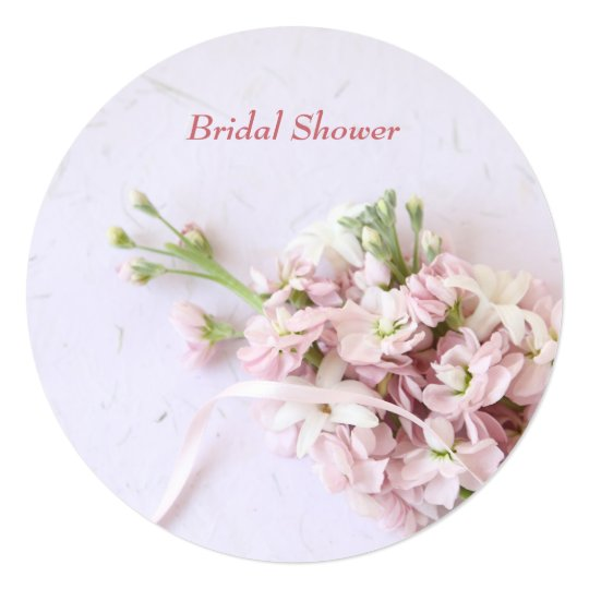 Pink spring flowers with ribbon card