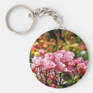 Pink spring rose garden print basic round button keychain