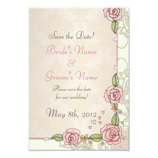"Pink Spring Roses Wedding Save the Date Cards 3.5"" X 5"" Invitation Card"