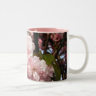 Pink Spring Tree Flowers Two-Tone Coffee Mug