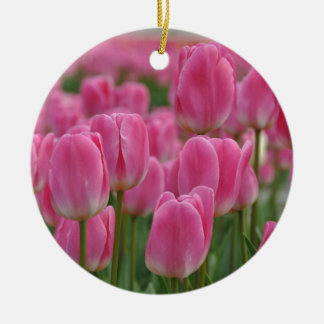 Pink spring tulips ceramic ornament
