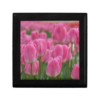 Pink spring tulips gift box