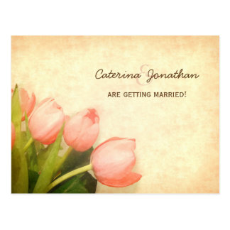 Pink Spring Tulips Wedding Save The Date Postcard