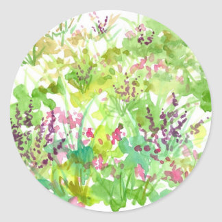 Pink Spring Watercolor Wildflowers Nature Art Classic Round Sticker