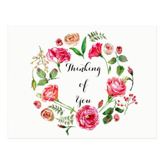 Pink Spring Wreath Thinking of You Postcard