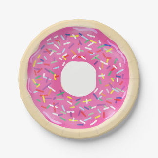Pink Sprinkle Donuts Modern Birthday Party Paper Plate