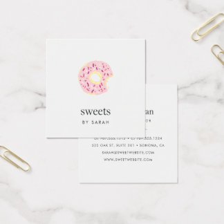 Pink Sprinkle Doughnut Square Business Card