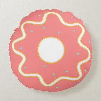 Pink Sprinkle Round Donut Pillow