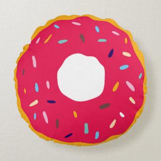 Pink Sprinkles Doughnut Round Pillow