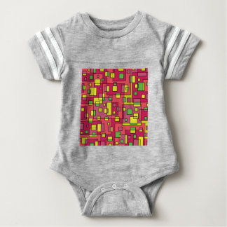 Pink square background baby bodysuit