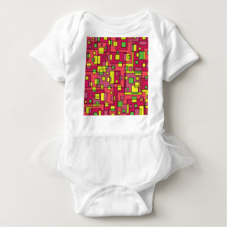 Pink square-background baby bodysuit